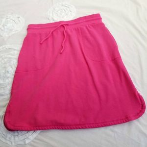 T by Talbots Skirt Pink French Terry Comfy Pockets